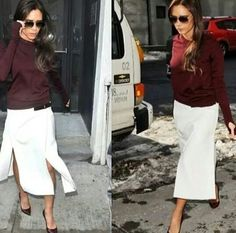 Victoria Beckham Style, White Jeans, Midi Skirt, Skirts, Pants, Fashion, Trouser Pants, Moda, Skirt