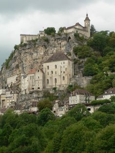 Rocamador city built on the side of a mountain, France