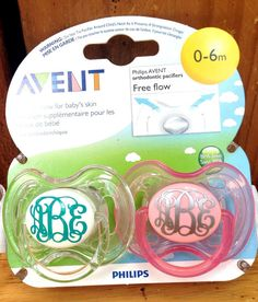 Monogrammed pacifier by Pottergentrydesigns on Etsy bc everything's cuter with a monogram