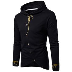 Men's Hooded Oblique Buttons Design Embroidered Golden Drawstring T-shirt Sweat Shirt, Cool Coats, Clothing Sites, Men's Clothing, Jacket Style, Hooded Sweatshirts, Casual, Sleeves, Jackets