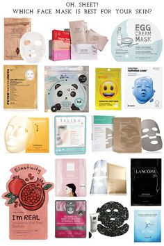Oh, Sheet! How to Pick the Best Sheet Mask for Your Skin | Sheet masks are a great way to add to your beauty routine. Click through to find out how to pick the best sheet mask for your skin type. || Dressed to Kill #sheetmasks #beautytips #skincare #skincaretips Gel Face Mask, Face Mask For Blackheads, Clay Face Mask, Face Masks, Face Mask For Spots, Mask For Dry Skin, Diy Sheet Mask, Best Sheet Masks, Best Masks