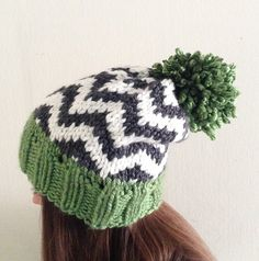 Knit Green Cream and Gray Chevron Pom Slouch Hat by MnStyle, $50.00