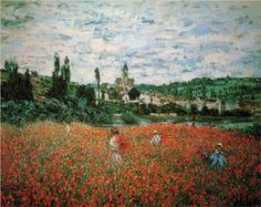 """""""Poppies Near Vétheuil"""" - Claude Monet, 1879  Zurich Museum, Switzerland ~ Amazing story and it was recovered! http://www.nytimes.com/2008/02/20/world/europe/20zurich.html?n=Top%2fReference%2fTimes%20Topics%2fPeople%2fD%2fDegas%2c%20Edgar_r=0"""