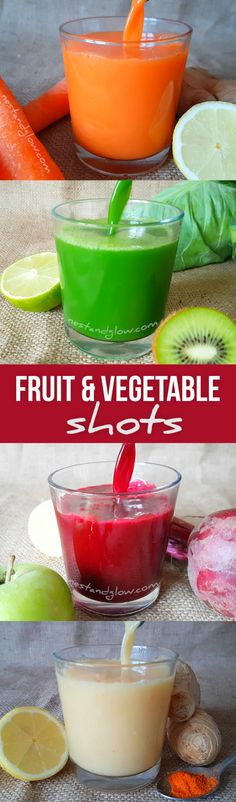 Fruit and Vegetable Shots - Ginger Cayenne, Carrot Tumeric, Leafy Greens and Beetroot Lemon. No Juicer required via juicing recipes Vegetable Smoothies, Yogurt Smoothies, Juice Smoothie, Healthy Smoothies, Healthy Drinks, Smoothie Cleanse, Green Smoothies, Juice Cleanse, Cleanse Detox