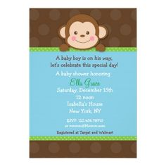 Shop Monkey Baby Shower Invitations Boy created by LittleSeiraStudio. Personalize it with photos & text or purchase as is! Baby Shower Niño, Baby Shower Parties, Baby Shower Themes, Shower Ideas, Baby Showers, Tarjetas Baby Shower Niña, Baby Shower Invitaciones, Monkey Invitations, Baby Shower Invitations For Boys