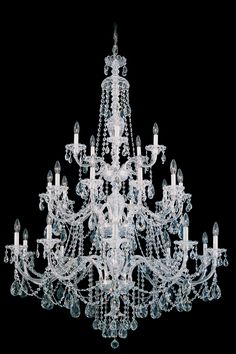 Sterling exemplifies the eighteenth century style all-crystal chandelier, with hand-formed crystal arms and elaborately cut crystal pendants, column pieces and dishes. Sterling can be a modest investment or an extravagance, depending on your choice of crystal type.