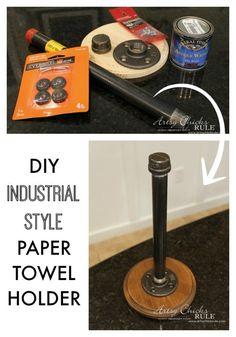 SO SIMPLE Industrial Style DIY Paper Towel Holder - super simple!! - #diy #industrial artsychicksrule.com