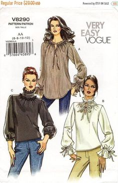 On Sale Sz - Vogue Blouse Pattern - Misses' Semi-Fitted, Pullover Blouse with High Collar and Sleeve Variations - Very Easy Vogue Patterns, Blouse Patterns, Print Patterns, Sewing Patterns, Ruffle Collar Blouse, Collar Pattern, High Collar, Vintage Shoes
