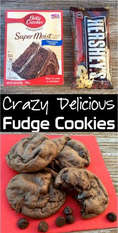 This easy dark chocolate fudge dessert is the perfect ad… Cake Mix Cookie Recipe! This easy dark chocolate fudge dessert is the perfect addition to your menu! Cake Mix Cookie Recipes, Cookie Desserts, Cupcake Recipes, Fudge Cookie Recipe, Boxed Cake Recipes, Simple Cookie Recipe, Simple Dessert Recipes, Party Cookies Recipe, Easy Recipes