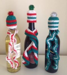 Set of Wine Bottle Handmade Hats and Scarves on Etsy, $10.00 AUD