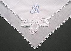 Wedding Handkerchief Lace Corner Monogram Bride Gift, Cotton Hankie, Mother, Anniversary, Accessories