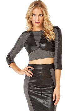 Leather Insert Slim Skirt Set