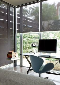 Roller shades from Hunter Douglas can be made in varying degrees transparency.  From sheer to black out.  #hunterdouglas #rollershades