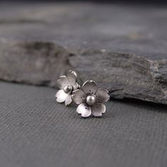 Cherry Blossom Earrings - Sterling silver Sakura Post earrings, Spring Jewelry, Gifts for her, Gifts under 35.00,