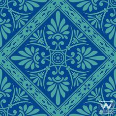 Mediterranean, Spanish, or Grecian Tile - Adhesive & Removable Wallpaper - Peel & Stick Wall Mural & Wall Art