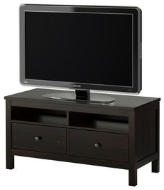 HEMNES TV unit - black-brown - IKEA-- It's actually got some solid wood in it! Ikea Hemnes Tv Stand, Ikea Tv Stand, Tv Cabinet Ikea, 2 Drawer Tv Stand, Drawer Storage, Black Tv Stand, Coffee Table Inspiration, Tv Bench, Home Decor