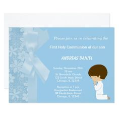 Blue Flowers #HolyCommunion Card #christening boy Available in different #giftideas products. Check more at www.zazzle.com/celebrationideas