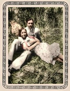 Colourized photo of Clyde, Bonnie, and Sonny Boy, the rabbit Bonnie got as a gift for her mother