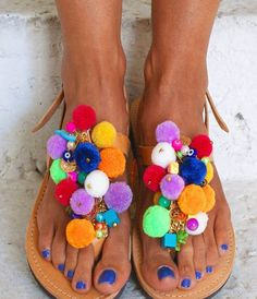 "Are you a pom - pom lover ? Colourful sandals ""Euphoria"" 🎀 #handmade #greek #sandals #pompom #leather #bohostyle #gipsysoul #bohoflats #customised #magosisters"