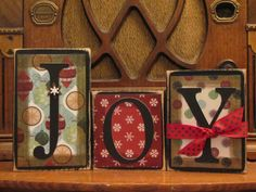These Joy word blocks will be the perfect touch to your holiday decor. Blocks have been painted and distressed with quality scrapbook paper applied with embellishments added. Choose from paper styles shown in pictures or request another style!  Please note that shipping is an estimate and is dependent upon your location. Shipping will be adjusted with either a refund or additional charge at time of shipment. I am happy to combine shipping with other items, just e-mail me.