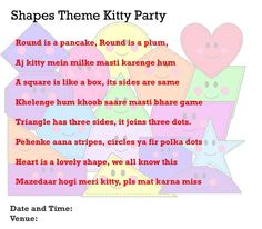 Shapes Theme Kitty Party Invitation Idea