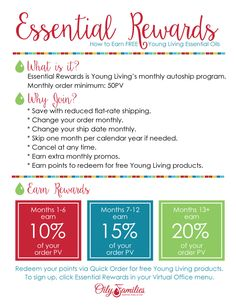 Essential Rewards, get reduced shipping and free oils! I've been on ER ever since I signed up with Young Living! #essentialoils