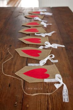 Items similar to Burlap & Lace Heart Banner on Etsy : Burlap & Lace Heart Banner by LittleMaisie on Etsy Diy Valentine's Day Decorations, Valentines Day Decorations, Valentine Day Crafts, Holiday Crafts, Valentinstag Party, Saint Valentin Diy, Valentines Bricolage, Valentine Banner, Heart Banner