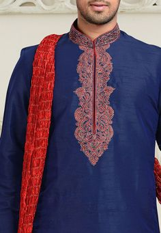 Embroidered Art Dupion Silk Kurta Set in Navy Blue – Shirt Types New Saree Designs, Mens Kurta Designs, Indian Men Fashion, African Fashion, Men's Fashion, Gents Kurta, Kurta Men, Smart Menswear, Casual Menswear