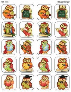- Owl Stickers from Susan Winget, Stickers are acid-free and lignin-free per Industry Standards. 120 stickers per pack. Rock Crafts, Arts And Crafts, Grandma Moses, Owl Classroom, Paper Owls, Teacher Created Resources, Baby Clip Art, School Decorations, My Themes