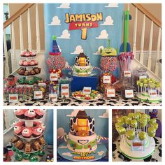 Toy Story 1st birthday party dessert table