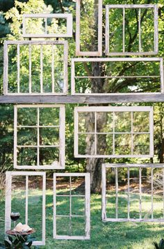 settings and backdrops These empty old window panes created a perfect backdrop for a Nashville wedding featured on SMP. LOTS of pins to Old Window Panes, Window Frames, Window Wall, Window Ideas, Hanging Frames, Vintage Windows, Old Windows, Antique Windows, Rustic Windows