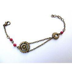 Bracelet vintage avec perles nacrées fushia et rouages. Style Steampunk 9,90 € NK-Creation
