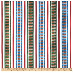 On Sale - Thomas and Friends -The Color Express - Railroad Stripe Multi -  Fabric By the Half Yard