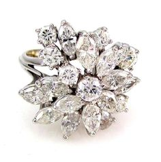 2.81ctw Round, Marquise & Pear Cut Diamond Cluster Ring PLATINUM | FJ AOI