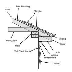 proper names for exterior house trim cornice frieze Roof Soffits, Roof Sheathing, Vinyl Siding Installation, Framing Construction, Wood Construction, Backyard Storage Sheds, Exposed Rafters, Roof Overhang, Garage Roof