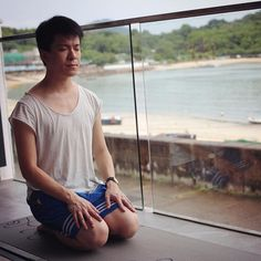 The last day of our island devising camp with morning yoga led by Billy Sy.