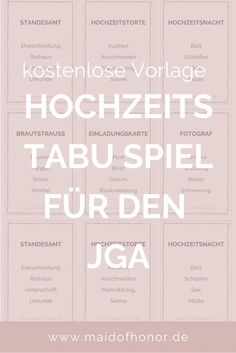 JGA IDEEN: Tabu-Spiel für den JGA oder die Brautparty zum Ausdrucken The Effective Pictures We Offer You About bachelorette party signs A quality picture can tell you many things. Bachelorette Party Signs, Taboo Game, Sandy Grease, To Infinity And Beyond, Holiday Cocktails, Woodland Party, Train Rides, Feeling Happy, The Conjuring