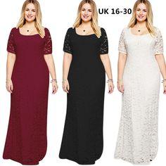 Plus size 16-30 Maxi Lace Bridesmaid Dress. Size: UK size 16-30. Size details Colors: white ,black ,wine. 16:Shoulder:39CM;Bust:96-104CM; Length:145CM. 18:Shoulder:40CM;Bust:100-108CM;Length:146CM. 20:Shoulder:41CM;Bust:104-112CM;Length:147CM. | eBay!