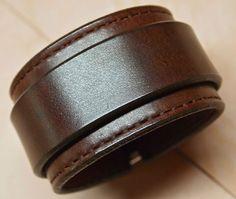Leather Wrist Cuff 1 5 Black Bracelet Handstitched Wristband Matara NYC USA | eBay