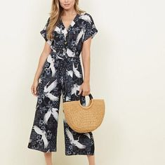 Discover the latest trends at New Look. Short Sleeves, Short Sleeve Dresses, Printed Jumpsuit, Elegant Outfit, Overall, Bird Prints, Playsuits, New Look, Wide Leg