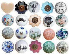 Vintage Ceramic Flower Round Drawer Knob Pull Handles Door Cupboard Knobs