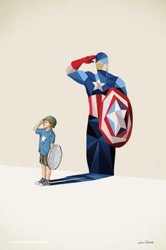Crianças projetam sombras de super heróis na série Super Shadow, de Jason…