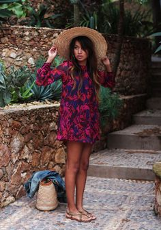 Pink & blue dress/ giant hat/ sandals