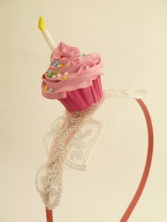 Birthday Headband cupcake with candle graet as birthday party hat  ,Halloween cupcake costume photo prop ,baby headband first birthday party. $23.99, via Etsy.
