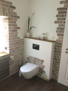 Brick wall in the bathroom - clinker brick interior - . Brick Interior, Interior Design Living Room, Living Room Designs, Living Room Decor, Basement Toilet, Garden Shower, Brick Wall, Sweet Home, House