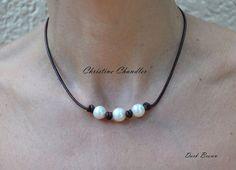 Perlas y cuero 3 collar de perlas perlas de por ChristineChandler