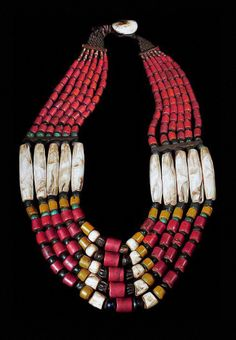 India   Shell, bead, metal and fiber necklace from Nagaland   POR