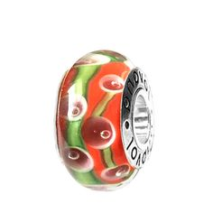 Orange Murano Glass w/ Pink Concentric Circles & Green Vines charm on Sterling Silver #charms  #fashion