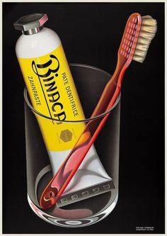 Kreiert von Niklaus Stoecklin im Jahre 1941 BINACA PUBBLICITARI DENTIFRICI SPAZZOLINI BICCHIERI