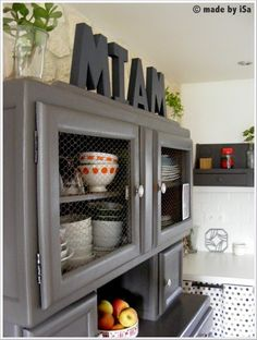 "In our new kitchen: word ""MIAM"" (grey version) on the top of an vintage family buffet- © made by iSa"